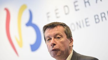Frédéric Daerden (PS) lors d'une conférence de presse sur le budget 2021 de la Fédération Wallonie Bruxelles, le 9 octobre 2021