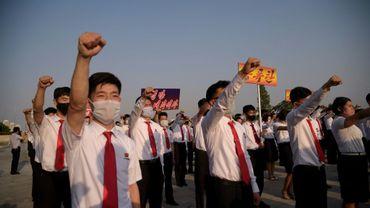 Manifestation d'étudiants nord-coréens à Pyongyang, le 8 juin 2020
