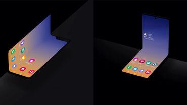Samsung a dévoilé à l'automne 2019 un tout nouveau form factor (à droite) pour smartphone à écran pliable.
