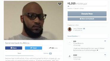 Larry Mitchell demande aux racistes de financer son retour en Afrique.