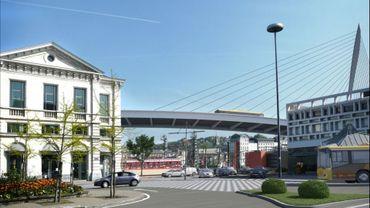 Gare de Namur: le mât du pont haubané posé ce matin
