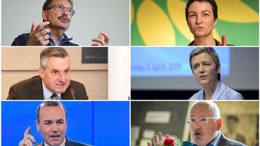 À gauche, Nico Cué (GE), Jan Zahradil (ACRE) et Manfred Weber (PPE) et à droite, Ska Keller (PVE), Margrethe Vestager (ADLE) et Frans Timmermans (PSE)