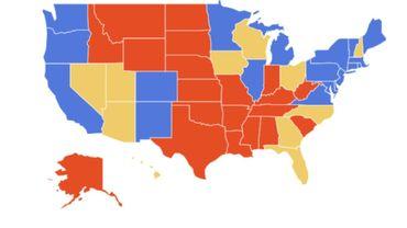 """Les """"Swing States"""" sont en jaune sur cette carte"""