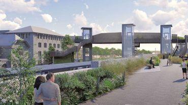 Esquisse de la future passerelle qui enjambera les voies de chemin de fer pour relier la rue de l'Ermitage.