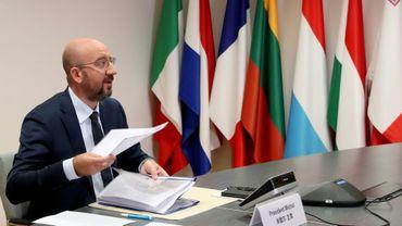 Le président du Conseil européen Charles Michel participe à une visioconférence dans le cadre du sommet UE-Chine, le 22 juin 2020 à Bruxelles
