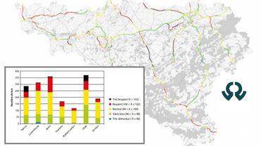 Les autoroutes et les nationales, en région liégeoise: une cartographie qui va faire du bruit
