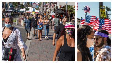 Tout le monde ne porte pas le masque en Californie, notamment à Huntington Beach, ce 19 juillet 2020