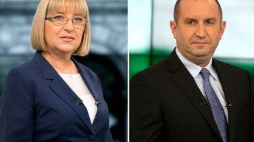 Photo montage datant du 10 novembre 2016 des deux candidats à la présidentielle en Bulgarie: Rumen Radev (d) candidat des socialistes et Tsetska Tsacheva, candidate du parti conservateur