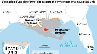 Localisation de l'explosion de la plateforme Deepwater Horizon en 2010 aux USA