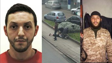 Mohamed Abrini lors de son arrestation (à gauche) et Osama Krayem.