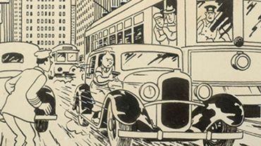 """Illustration hors-texte de """"Tintin en Amérique"""" de 1937 à l'encre de chine sur papier par Herg"""