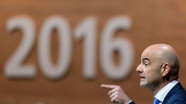 Gianni Infantino, en tête du 1er tour de l'élection présidentielle Fifa, lors du congrès extraordinaire de la Fifa, le 26 février 2016 à Zurich