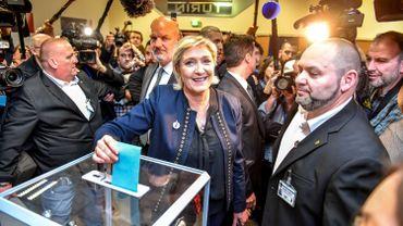 Marine Le Pen, le 10 mars lors du vote pour élire la tête du FN.