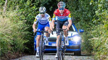 Julian Alaphilippe avec Bob Jungels sur les pavés du Ronde.