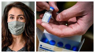 Christie Morreale, ministre wallonne de la Santé (PS) et dose du vaccin Janssen (images d'illustration)