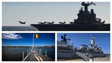 Au dessus: porte-avions Charles-de-Gaulle et photos du dessous: la frégate Léopold 1 (en 2019, à New York)
