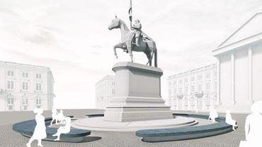 La place Royale avec des trams qui ne passent plus de part et d'autre de la statue de Godefroid de Bouillon.