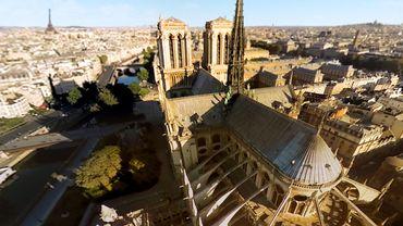 Une image du film tourné par FlyView Paris, présentant Notre-Dame de Paris, pour son attraction de réalité virtuelle
