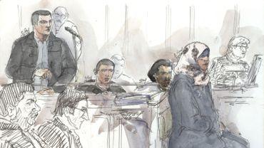 Un croquis de Bilal Taghi (à gauche de l'image) lors de son procès à Paris, le 19 novembre 2019.