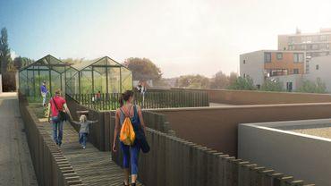 Voici à quoi devrait ressembler le toit du Delhaize Boondael à Ixelles au juillet 2017.