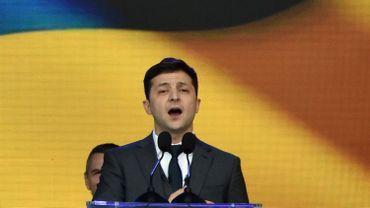 Volodymyr Zelensky, lors d'un débat présidentiel à Kiev, le 19 avril 2019
