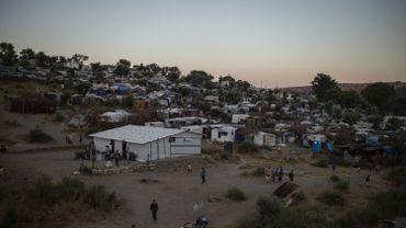 Le camp de migrants de Moria, le principal du pays, sur l'île de Lesbos.