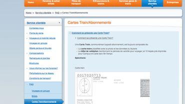 Copie d'écran du site de la SNCB