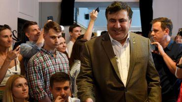 Mikhaïl Saakachvili et ses supporters en Pologne