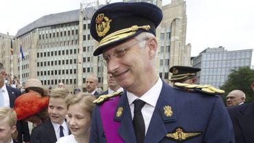 Le Roi Philippe lors des festivités du 21 juillet 2014. C'est le Roi qui décerne les titres de noblesse chaque année, lors de fête nationale.