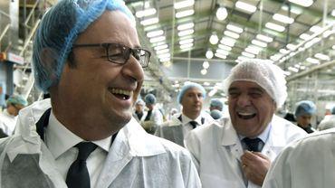 François Hollande visite l'usine Andros de Biars-sur-Cère (Lot), le 20 avril 2017