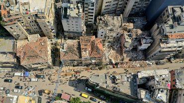 Vue aérienne le 7 août 2020 des quartiers de Beyrouth détruits par l'explosion
