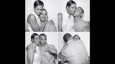 """Le photobooth de Barack Obama pour son épouse Michelle, accompagné de la déclaration """" Sur chaque scène, tu es mon étoile, @MichelleObama! Joyeux anniversaire bébé!""""."""