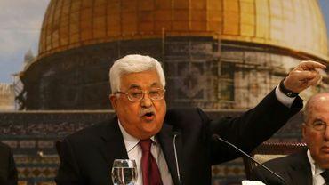 Le président palestinian Mahmoud Abbas s'exprime devant le Conseil national palestinien à Ramallah en Cisjordanie occupée, le 30 avril 2018