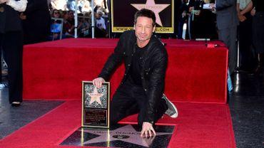 David Duchovny sur le Walk of Fame, à Hollywood