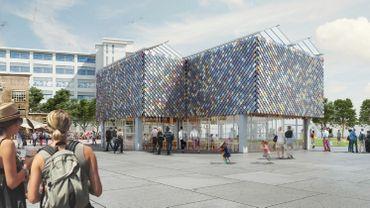 """Le """"People's Pavilion"""", lieu principal du World Design Event, a été conçu à partir de matériaux recyclés et réutilisables."""