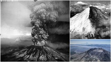 Le Mont Saint Helens lors de l'éruption du 18 mai 1980 (à gauche). Avant l'éruption (en haut à droite) et le cratère d'1,5 km de large ayant remplacé le sommet (en bas à droite).