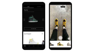 """La dernière fonctionnalité """"Try-On"""" permet aux utilisateurs de GOAT d'essayer virtuellement les paires de baskets rares avant de les acheter."""