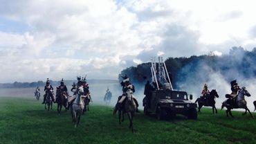 """Scène du tournage du film """"Au milieu de la bataille' de Gérard Corbiau"""
