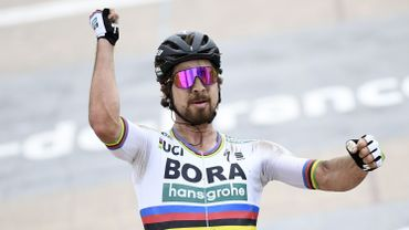 Sagan lors de sa victoire sur Paris-Roubaix cette année.