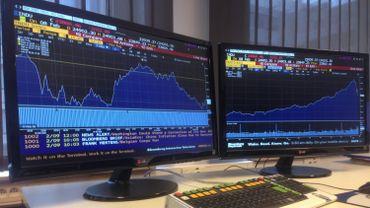 A gauche, le graphique du Dow Jones depuis le début de la semaine, à droite celui de l'année dernière.