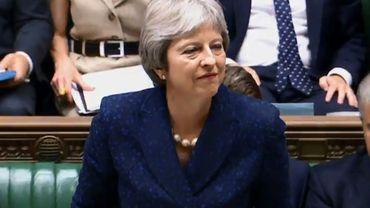 Capture d'écran réalisée à partir d'une vidéo diffusée par le Parlement britannique montrant la Première ministre Theresa May s'exprimant sur le Brexit devant la Chambre des Communes, le 9 juillet 2018