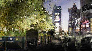Vue de nuit du projet PopUP Forest de Times Square