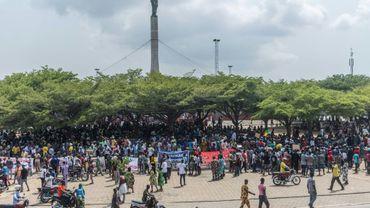 Rassemblement contre l'exclusion des partis d'opposition aux législatives, à Cotonou le 11 mars 2019