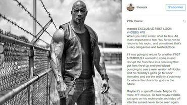 """""""Fast and Furious 8"""" : Dwayne Johnson dévoile le nouveau look de Luke Hobbs"""