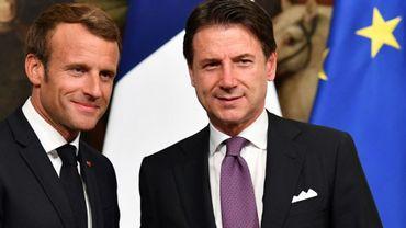 Le président français Emmanuel Macron (G) et le Premier ministre italien Giuseppe Conte le 18 septembre 2019 à Rome