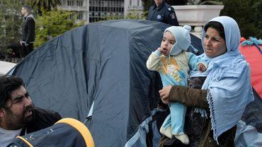 Migrants et réfugiés campent dans le centre d'Athènes  le 19 avril  2019 après avoir été expulsés des logements qu'ils squattaient dans la banlieue