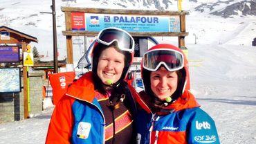 Chloé et Eléonor Sana à l'entrainement à Tignes en France