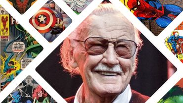 Stan Lee, entourés de ses super-héros Marvel.