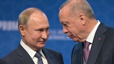 """Les deux leaders lors de l'inauguration du gazoduc """"TurkStream"""", le 08 janvier 2020 à Istanbul"""