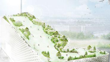 Rendu d'architecte du parc de toit d'Amager Bakke